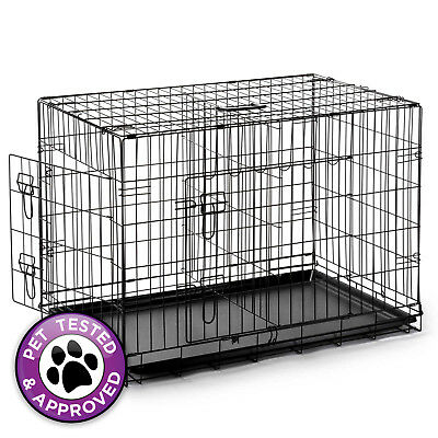 "42"" Large Portable Folding Wire Dog Crate Cage Kennel Pen with Divider - Black"