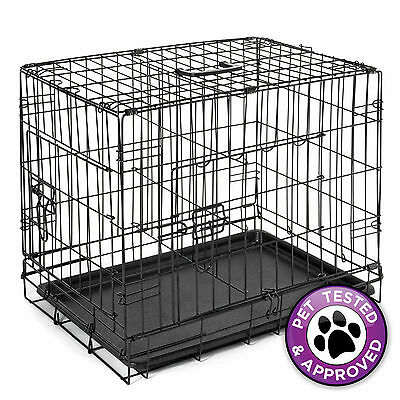 """30"""" Dog Cage Crate Folding Kennel with Divider Pet Puppy Pen ABS Tray Pan"""