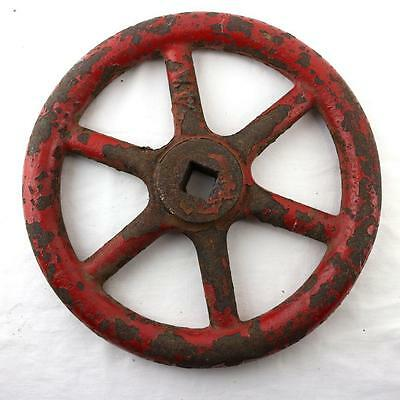 Antique Fairbank Red Painted Gear Valve Handle Industrial Steampunk 9""