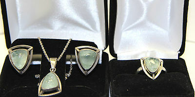 Russian Silver (.875) Moss Agate/Chalcedony Jewelry Set
