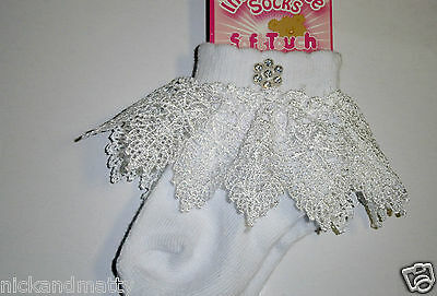 Baby Girls Lace Ankle Socks With Diamonte