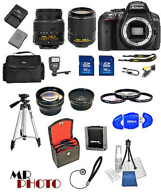 Nikon D5300 Black DSLR Camera w/ VR 18-55mm + 55-200mm VR II + 32GB VALUE BUNDLE
