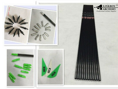12*30 archery carbon arrow shaft w/ blazer vane nock insert point for DIY sp300