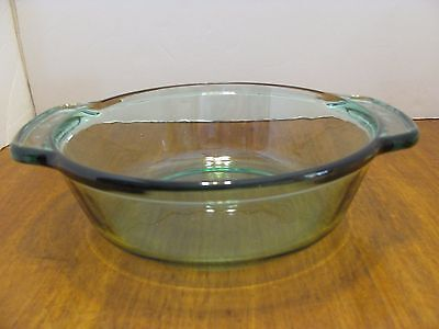 "Anchor Hocking Green Glass Casserole Dish 1.5 Qt  8 1/4"" Diameter USA"