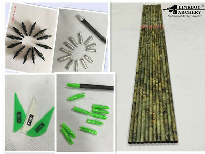 12*30 Archery camo carbon arrow shaft SP400 vane nock insert point for DIY