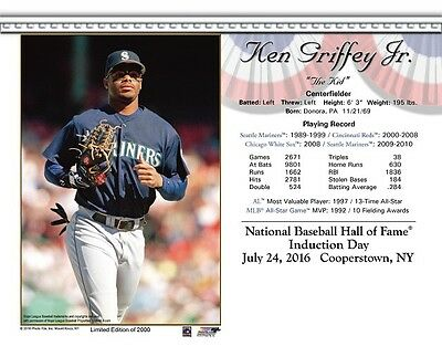 48fde9a13b Ken Griffey Jr. Seattle Mariners 8X10 2016 Hall Of Fame Hof Induction Day  Card