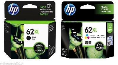 2 HP Genuine 62XL BLACK+ 62XL TRI-COLOR Ink Combo- ENVY 5640/7640/Officejet 5740
