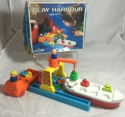 Rare 1970S Boxed - Nikko Toy Town  *play Harbour* Playset - Boat Duplo/playmobil