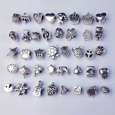Hot 40pcs Silver Plated Spacer Beads Charms Jewelry Making Bracelet Necklace DIY