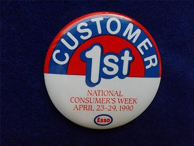 Esso Oil Gas Station Company Consumers Week 1990 Metal Collector Button Pin Back