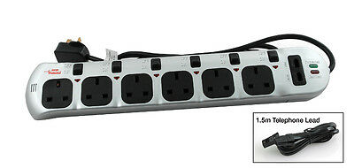 6 Way Surge Protector Power Extension Lead Switched With 2mtr Lead