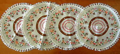 4 x Round 32cm diameter cotton printed fringed placemats