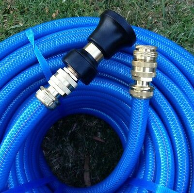 "Garden Water Hose 100M Heavy Duty 18MM Blue  3/4"" Brass Fittings & Fire Nozzle"