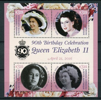 Grenadines Grenada 2016 MNH Queen Elizabeth II 90th Birthday 4v M/S Stamps