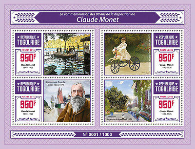 Togo 2016 MNH Claude Monet 4v M/S Bain Grenouillere Art Paintings Stamps