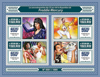 Togo 2016 MNH Freddie Mercury 4v M/S Music Stars Queen Cats Tiffany Miko Stamps