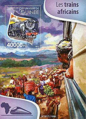 Guinea 2015 MNH African Trains 1v S/S Railways Chemin de Fer SAR Class Stamps