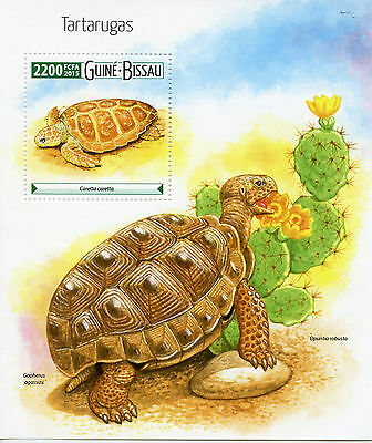 Guinea-Bissau 2015 MNH Turtles 1v M/S Reptiles Cactus Flowers Cacti Stamps