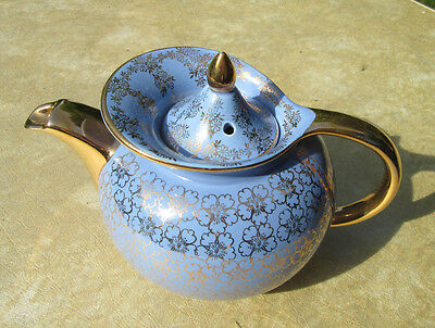 Hall China WINDSHIELD TEAPOT, CADET BLUE/GOLD FLOWERS...reduce PREM. collection!