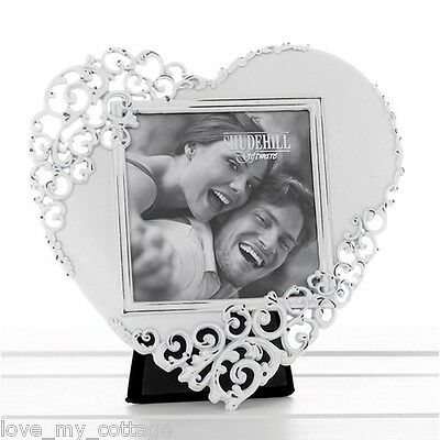 Vintage Shabby Chic WHITE Lace LOVE HEART Metal Photo Picture Frame Wedding Gift