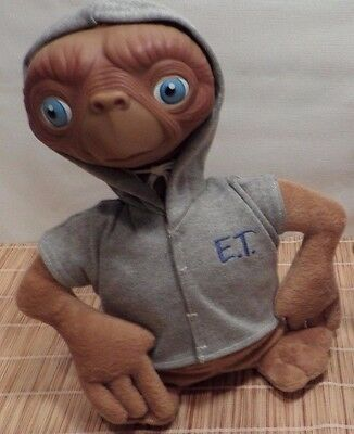 Vintage Toy applause E. T.  Extra Terrestrial Plush Doll Grey Hood Jacket 12""