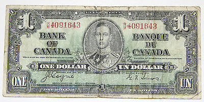 1937 Canada Currency - 1 (One) Dollar Banknote (Serial # R/M 4091643)