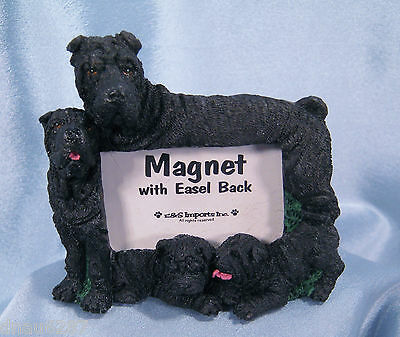Black Shar Pei Picture Frame Magnet with Easel Back 3.5x3 inches