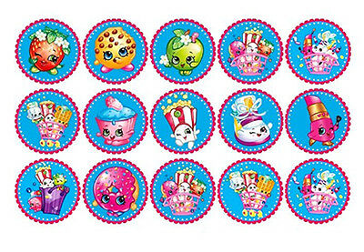 15 SHOPKINS Edible WAFER PAPER Birthday CupCake Cup Cake Decoration Topper Image