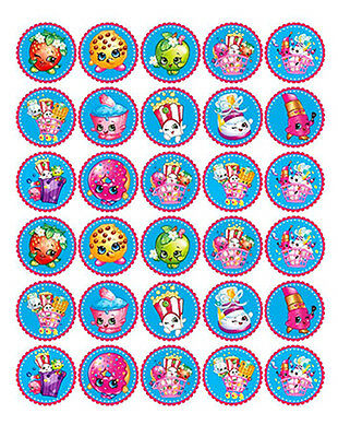 30 SHOPKINS Edible WAFER PAPER Birthday CupCake Cup Cake Decoration Topper Image