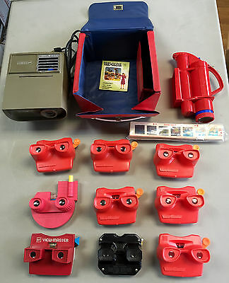 Vintage Viewmaster Lot Sawyer Projector w Case 9x Viewers Black Model No Reels