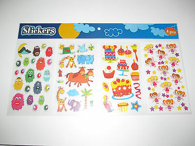 Lot Set x4 Planches Stickers Autocollants Taille Total 40x18cm NEUF