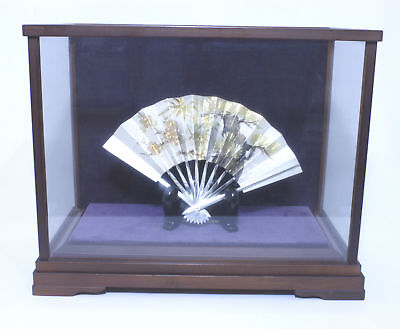 FS Japanese Antique Sterling Silver Fan with Case & Stand Sensu ohgi 7