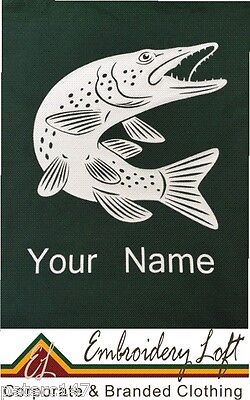 Personalised Pike Fishing Hoodie With Pike & Name Printed On The Back.