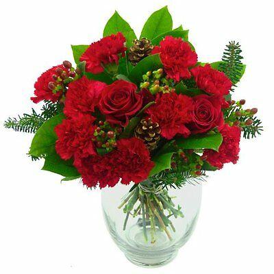 Clare Florist Christmas Rose and Carnation Celebration Fresh Flower Bouquet
