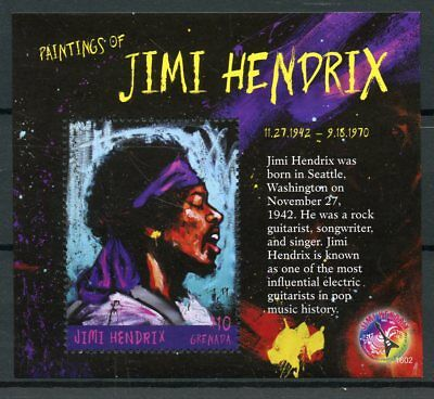 Grenada 2016 MNH Paintings of Jimi Hendrix 1v S/S Rock Stars Celebrities Stamps