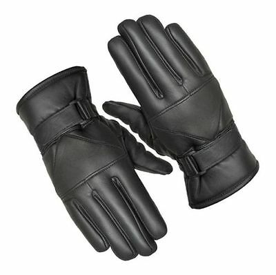 Mens Winter Leather Motorcycle Motorbike Thermal Gloves
