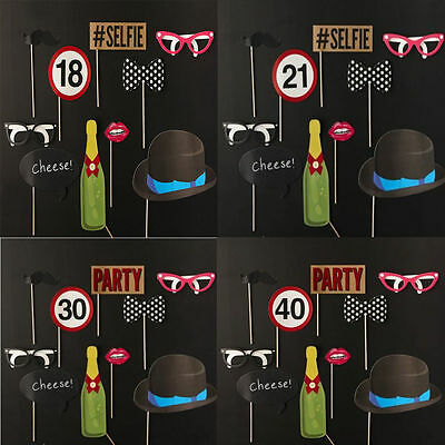 10PCS Birthday Party Photo Booth Props Favours Moustache on A Stick Photography