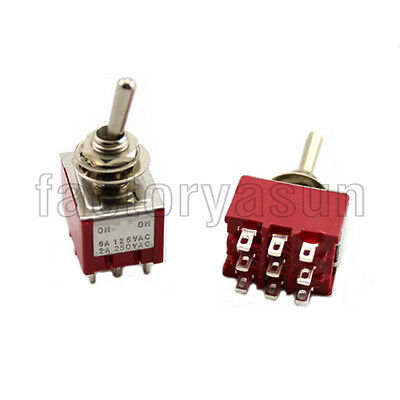 5PCS Red Mini Toggle Switch 3PDT 2 Position ON-ON 9-PIN 12V 6A Silver Contacts