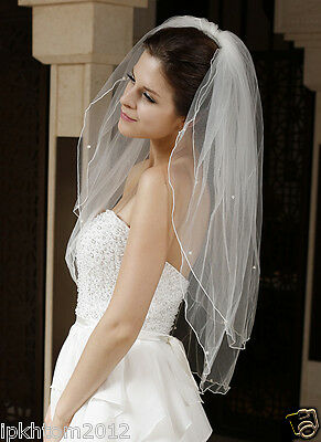 Layers 2 White Ivory velo da sposa Pencil Edge Beaded Bridal Veil with Comb