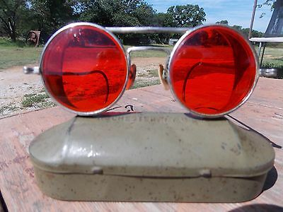 Vtg Red Lens Aviator Steampunk Motorcycle Goggles Wwii