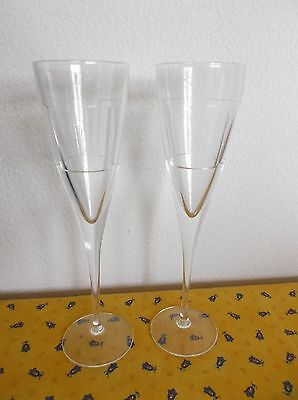 "Pair Artist Signed Crystal Champagne Flutes, Chronninger, 10"",  Mikasa/JC Durand"