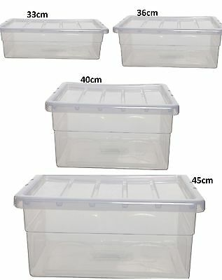 Clear Plastic Storage Boxes With Lid Stackable Stacking Space Saving Master