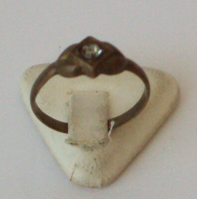 VINTAGE NICE BRONZE RING WITH WHITE STONE FROM THE EARLY 20th CENTURY # 110