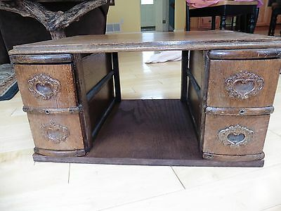 Vintage Sewing machine desk heart drawers spool holders wooden cabinet box part