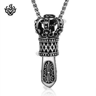 Silver crown pendant stainless steel black crystal Scepter necklace