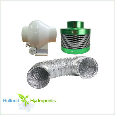 "4"" Ventilation Setup Inline Exhaust Fan Carbon Filter 4""  Ducting Hydroponics"
