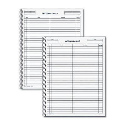 Rediform 50111 Incoming/Outgoing Call Register Book - 100 Sheet(s) - Wire Bound