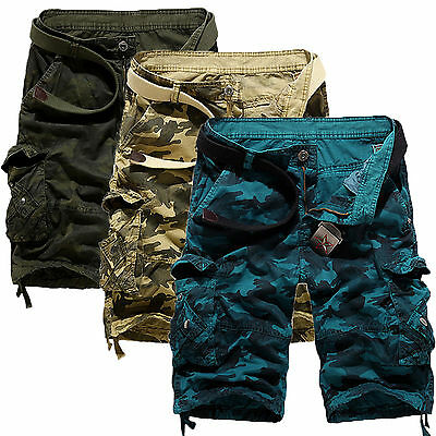 Mens Summer Military Army Camo Combat Cargo Overall Shorts Pants Trousers 29~38