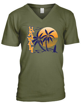 Aloha Palm Trees Sunset Hawaiian Pride Vacation Life Beaches Mens V-neck T-shirt