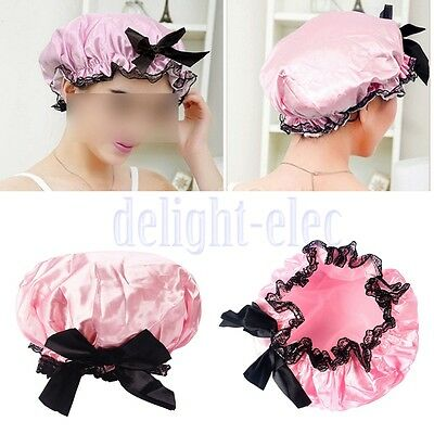 Girls Elastic Waterproof Bow Lace Hat Bath Hair Care Salon Shower Cap luxury DH